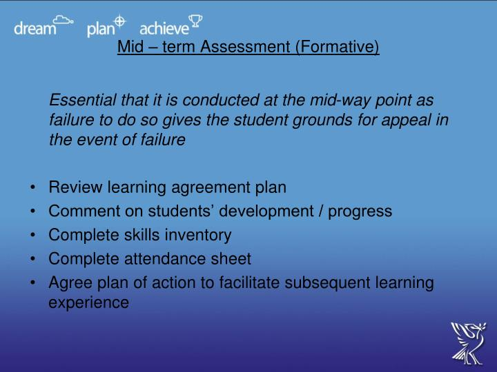 Mid – term Assessment (Formative)