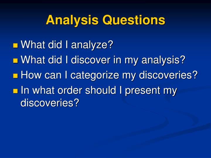 Analysis Questions
