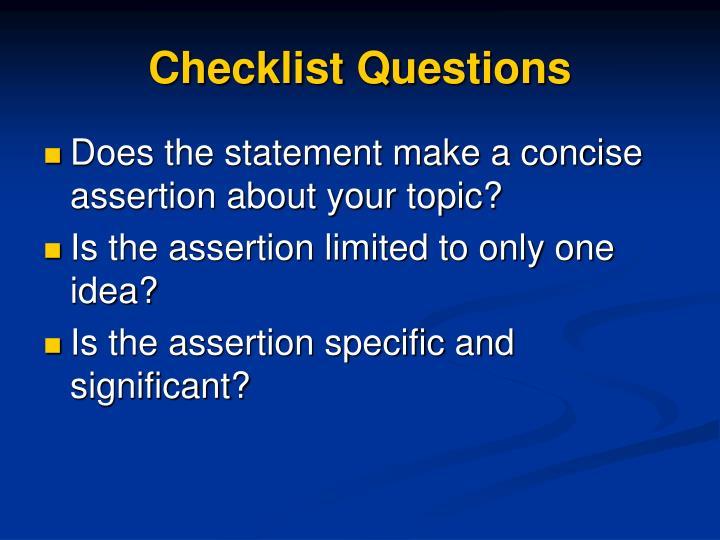 Checklist Questions