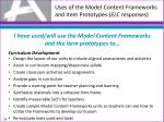 uses of the model content frameworks and item prototypes elc responses