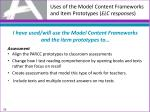 uses of the model content frameworks and item prototypes elc responses2