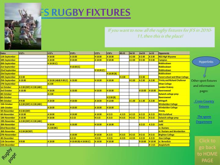 if you want to now all the rugby fixtures for jfs in 2010 11 then this is the place n.