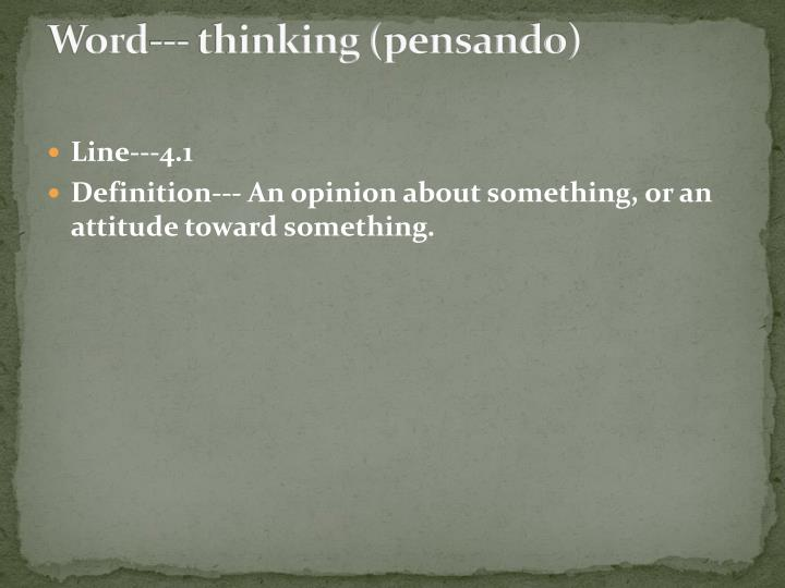 Word--- thinking (