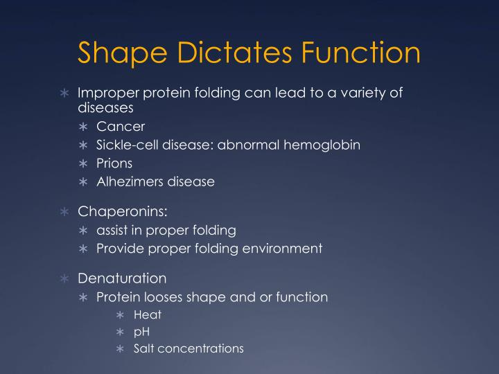 Shape Dictates Function