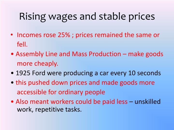 Rising wages and stable prices