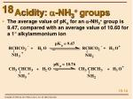 acidity a nh 3 groups