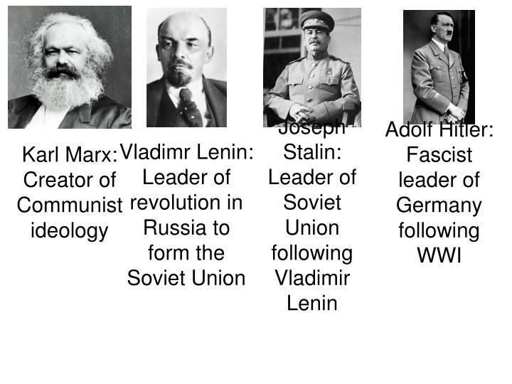 Joseph Stalin: Leader of Soviet Union following Vladimir Lenin