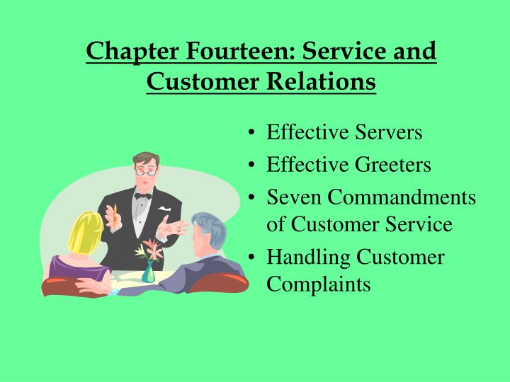 chapter fourteen service and customer relations n.