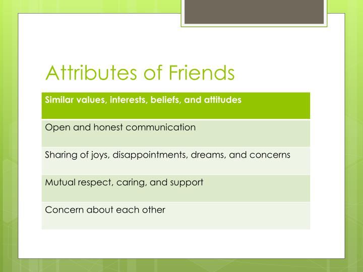 Attributes of friends