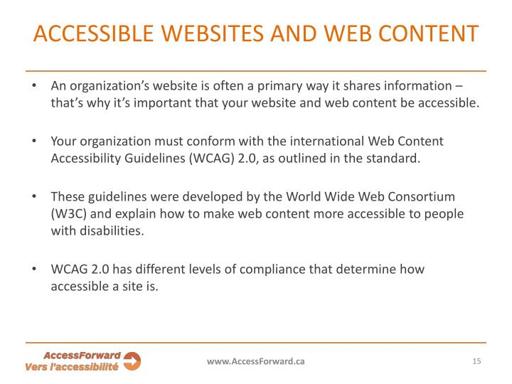 Accessible websites and web content