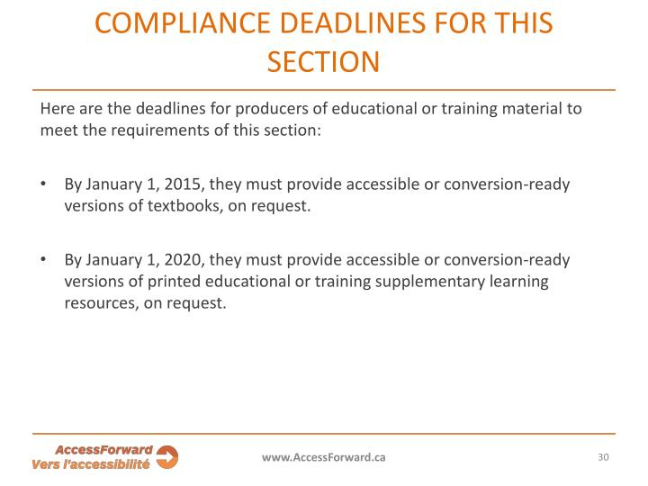 COMPLIANCE DEADLINES FOR THIS SECTION