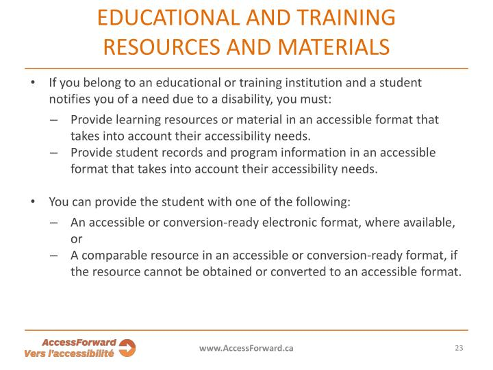 Educational and training