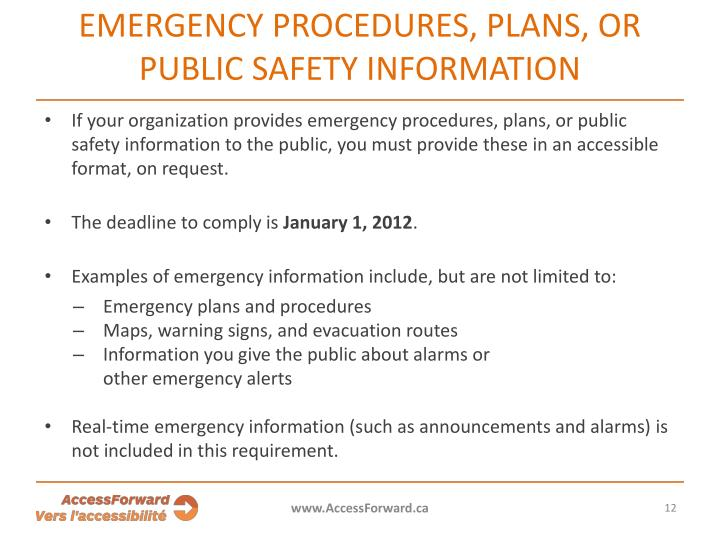 EMERGENCY PROCEDURES, PLANS, OR PUBLIC SAFETY INFORMATION