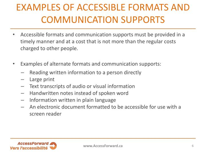 Examples of accessible formats and communication supports