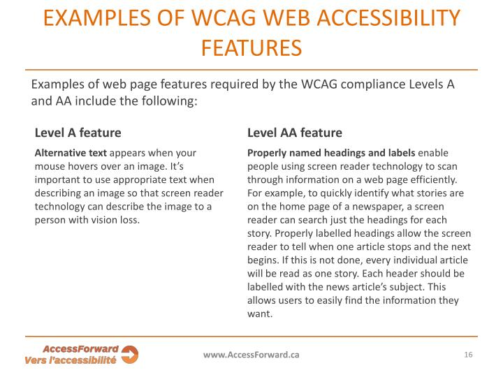 Examples of WCAG web accessibility features