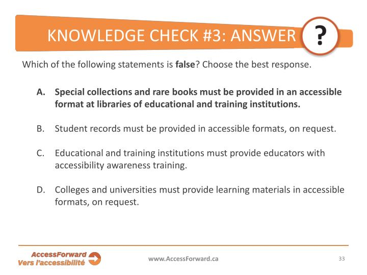 KNOWLEDGE CHECK