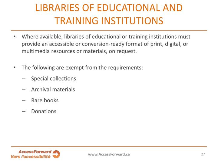 Libraries of educational and training institutions