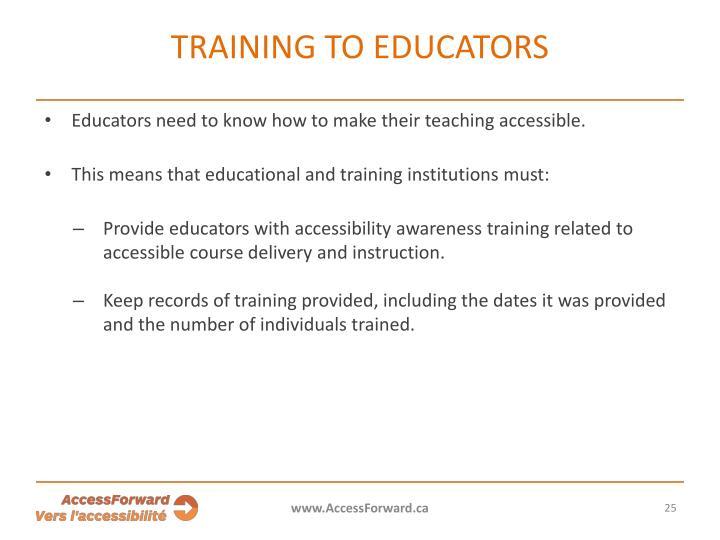 Training to educators