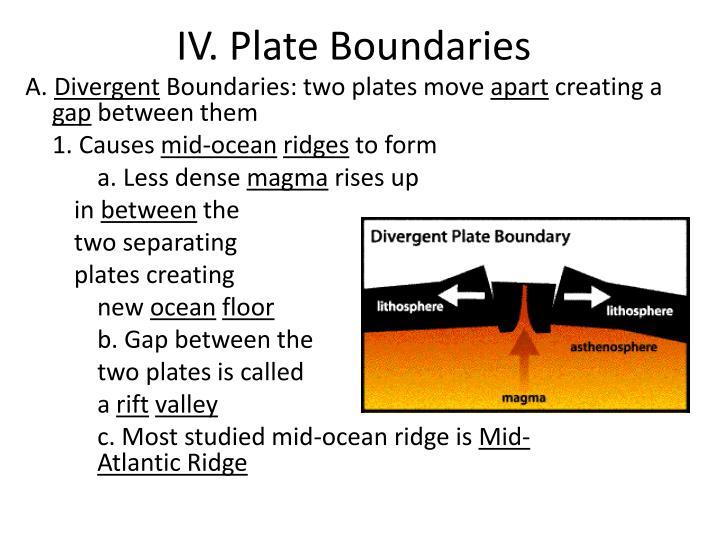 IV. Plate Boundaries