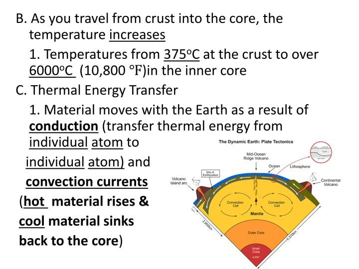 B. As you travel from crust into the core, the temperature