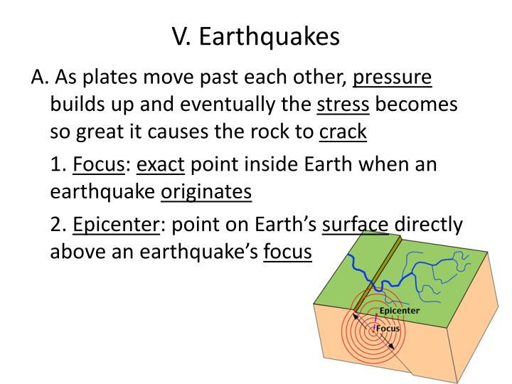 V. Earthquakes