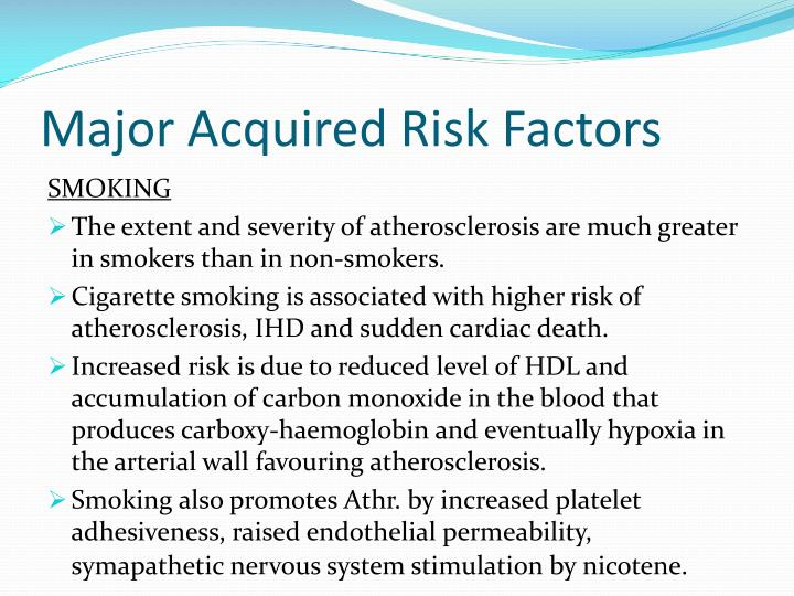 Major Acquired Risk Factors
