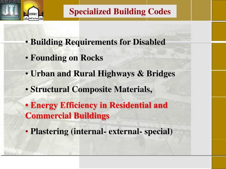 Specialized Building Codes
