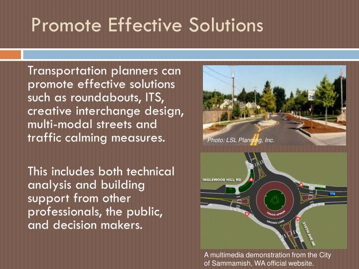 Promote Effective Solutions