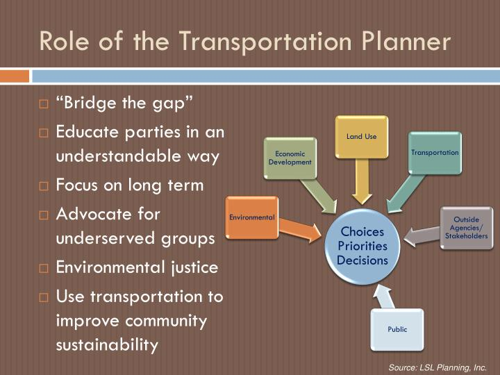 Role of the Transportation Planner