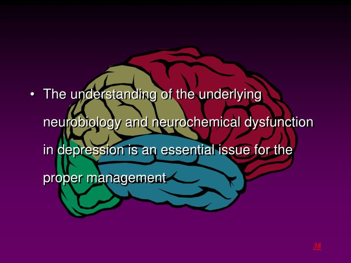 The understanding of the underlying neurobiology and neurochemical dysfunction in depression is an essential issue for the proper management