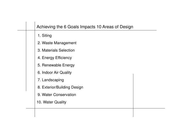 Achieving the 6 Goals Impacts 10 Areas of Design