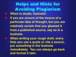 helps and hints for avoiding plagiarism