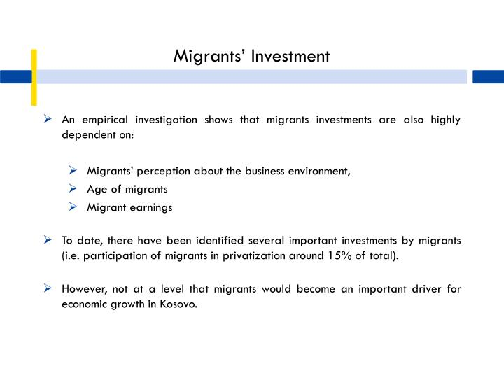Migrants' Investment