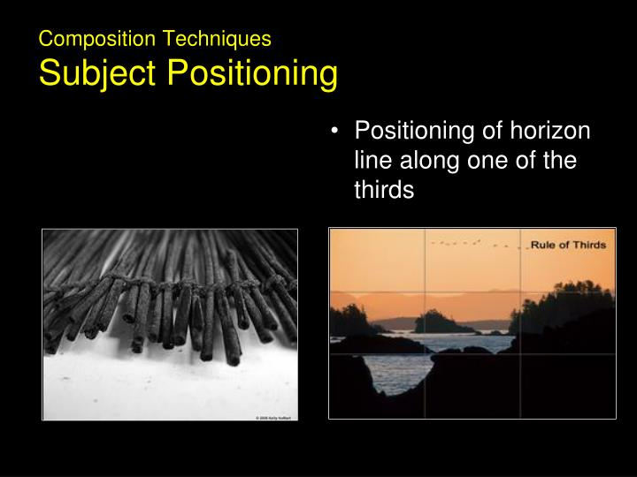Positioning of horizon line along one of the thirds