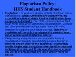 plagiarism policy hhs student handbook