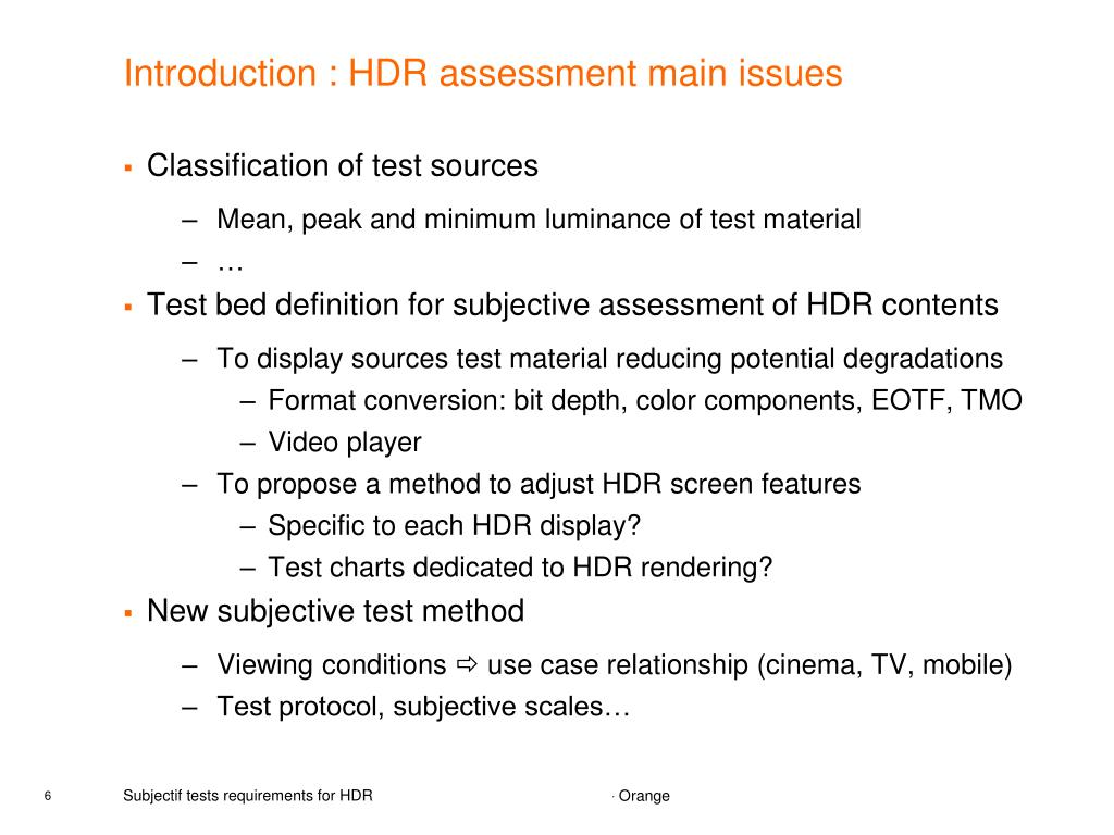 PPT - Subjectif tests requirements for HDR PowerPoint