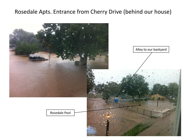Rosedale Apts. Entrance from Cherry Drive (behind our house)