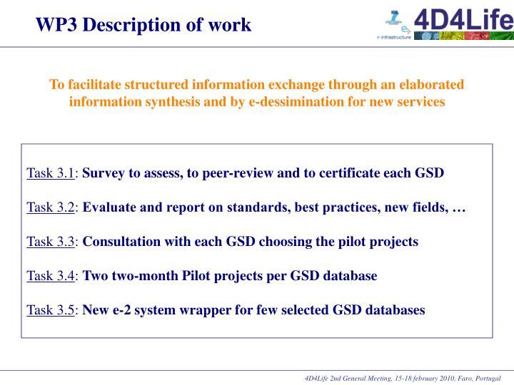 WP3 Description of work