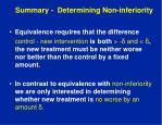 summary determining non inferiority