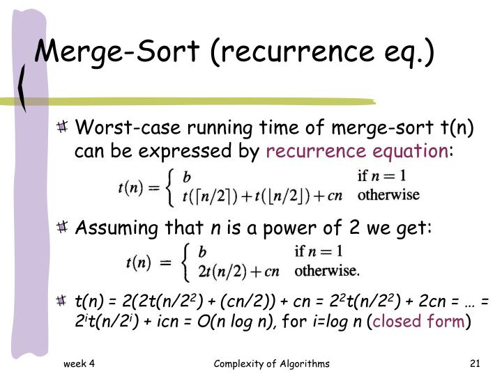 Merge-Sort (recurrence eq.)