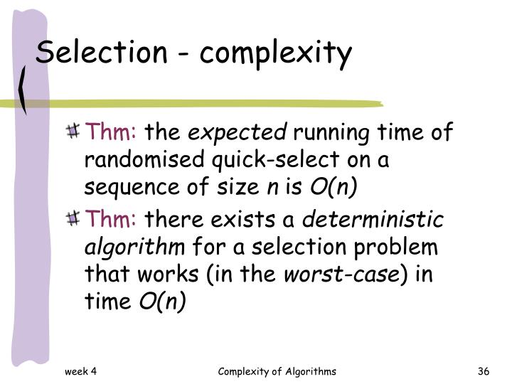 Selection - complexity