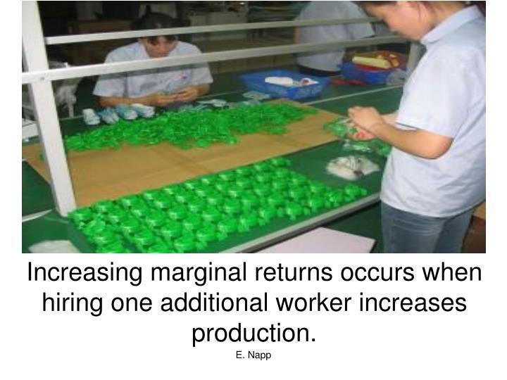 Increasing marginal returns occurs when