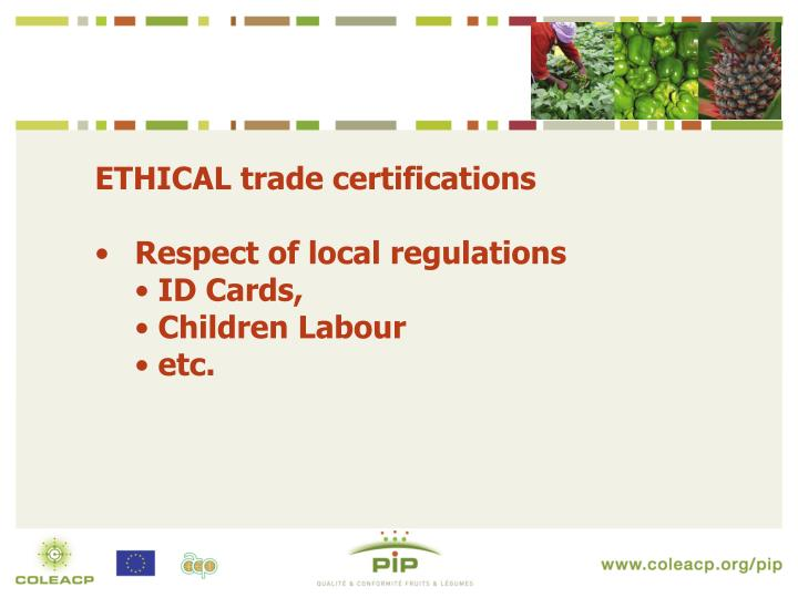 ETHICAL trade certifications