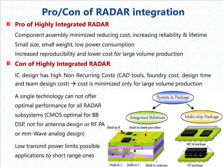 Pro/Con of RADAR integration