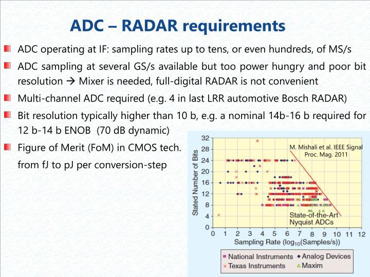 ADC – RADAR requirements