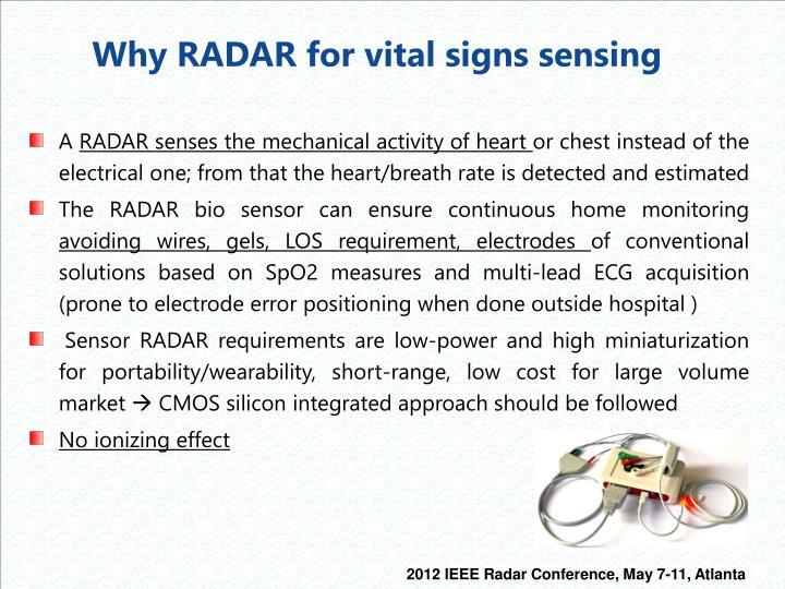 Why RADAR for vital signs sensing