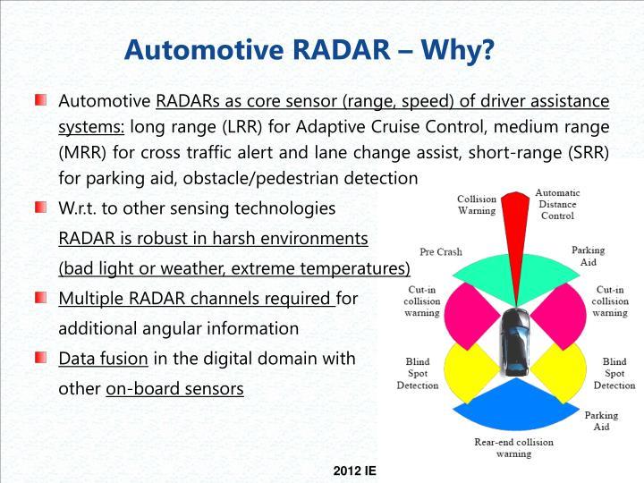 Automotive RADAR – Why?
