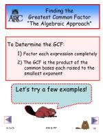 finding the greatest common factor the algebraic approach