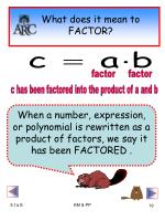 what does it mean to factor