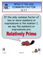 what if the only common factor is 1